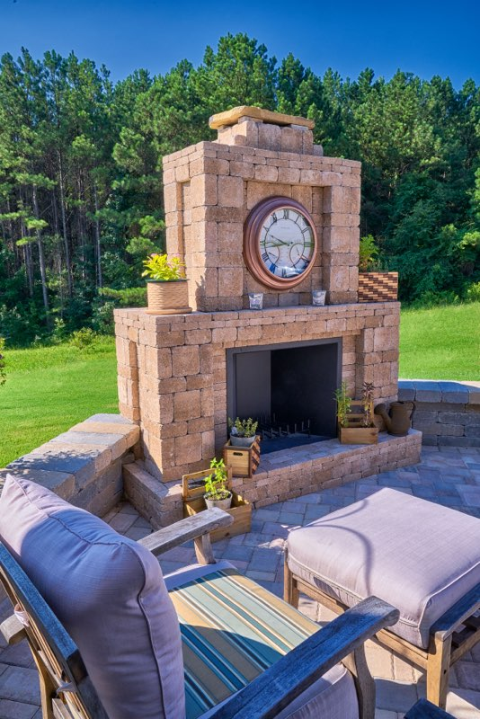 Outdoor Fireplace with Clock
